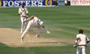 Ian Botham attempts to avoid a Curtly Ambrose bouncer but only succeeds in hitting his own wicket (West Indies touring England in 1991)
